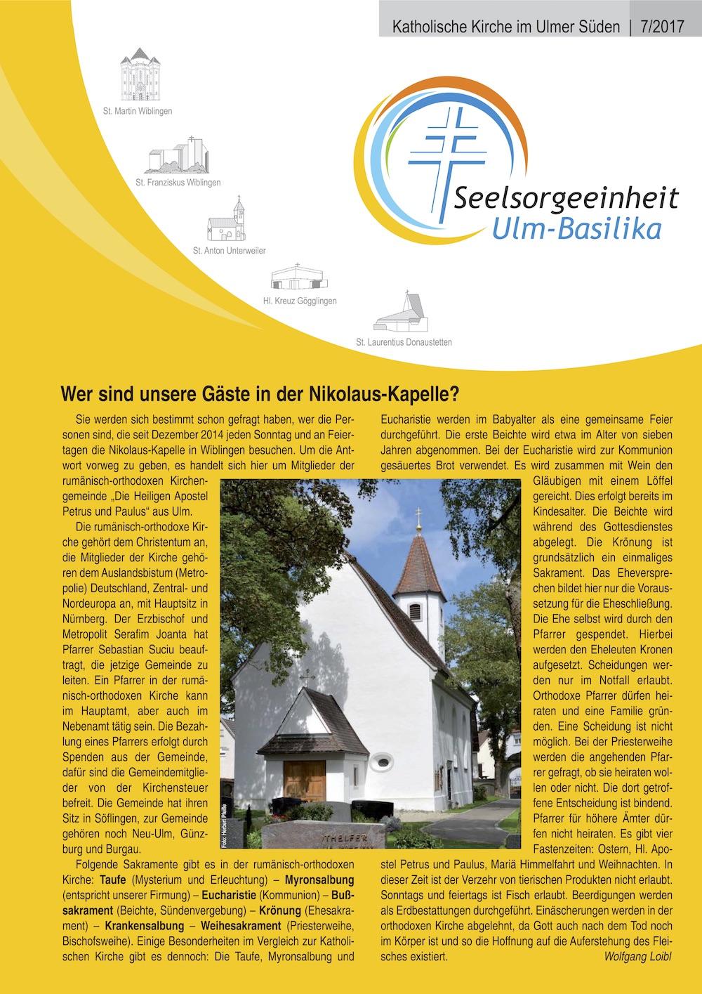 Katholische Kirche im Ulmer Süden 7-2017