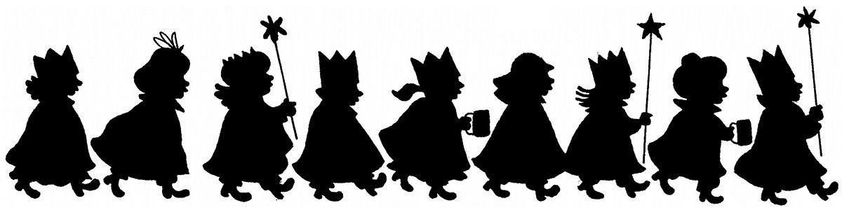 Schattenriss Sternsingerkinder von links