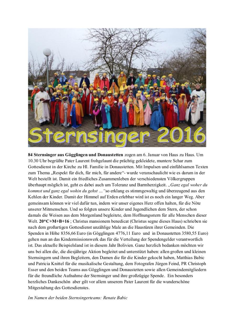 Sternsinger für Bolivien