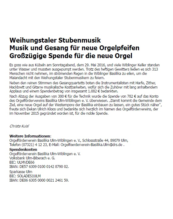 Weihungstaler Stubenmusik - Rückblick 2016